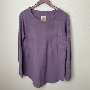 Chaser Lilac Waffle Knit Thermal Henley | L